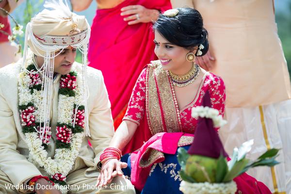 indian newlyweds,indian bride,indian wedding ceremony