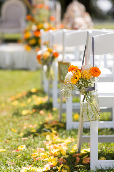 Lovely wedding aisle floral and decor