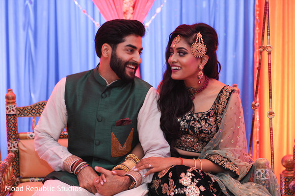 sangeet indian bride and groom,indian pre-wedding celebrations