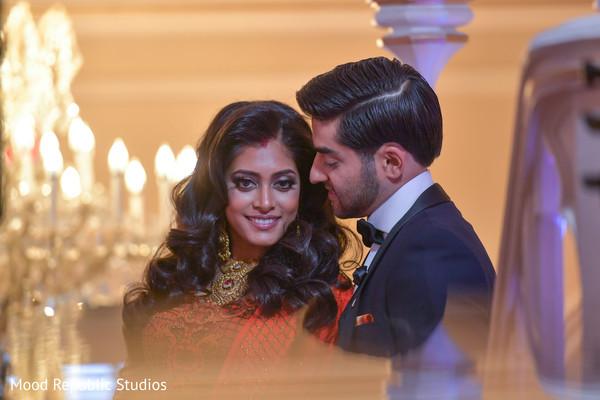indian bride,indian fusion wedding reception,indian wedding lengha