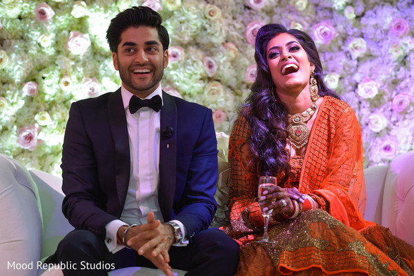 indian newlyweds,indian fusion wedding reception