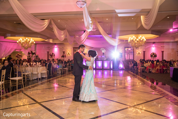 indian fusion wedding reception,indian bridal lengha,indian bride and groom first dance