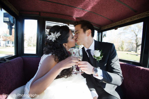 newlyweds,indian fusion wedding