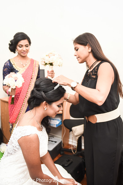 indian bride, getting ready,  white gown, bridesmaids,