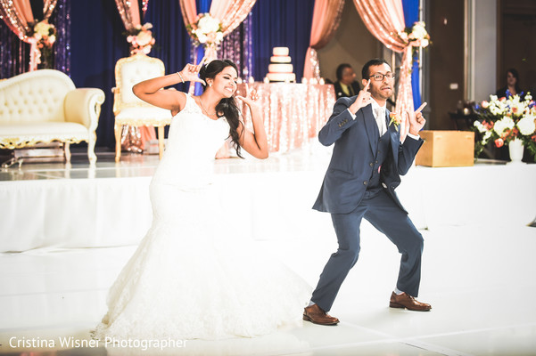indian wedding reception,dj and entertainment,indian bride and groom,choreography