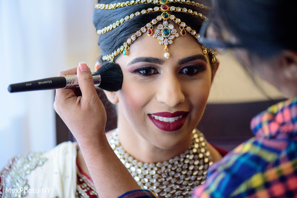 indian bride getting ready,indian wedding,indian bridal hair and makeup