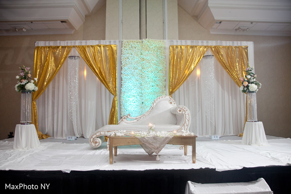 indian weddings,white wedding stage,gold wedding stage