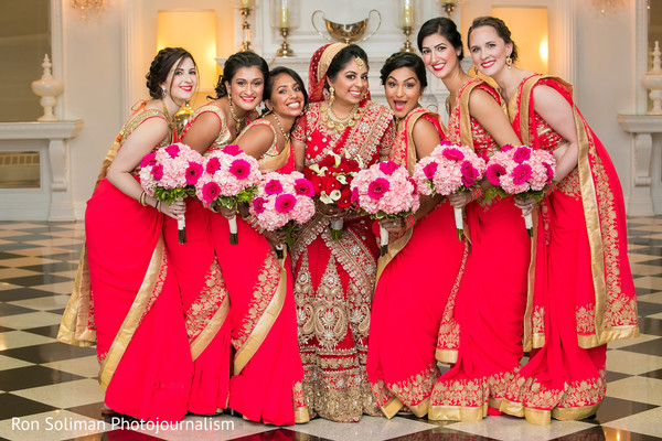 Cute Wedding Photo Of The Bride And Teh Bridesmaids In Keyport NJ Indian