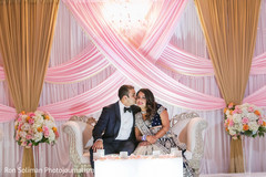 indian bride,indian groom,indian fusion wedding reception,reception stage