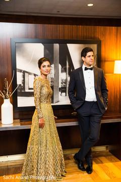 indian bride,indian groom,indian fusion wedding reception,indian wedding portrait