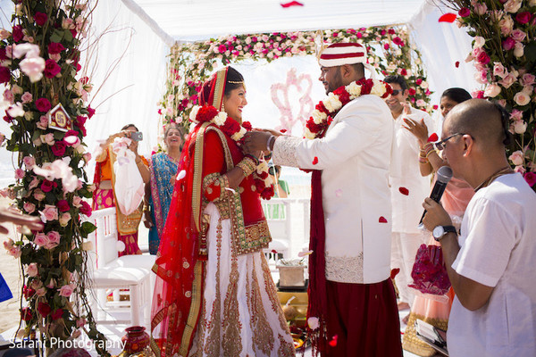 indian wedding ceremony floral and decor,indian bride hair and makeup,indian bride ceremony fashion