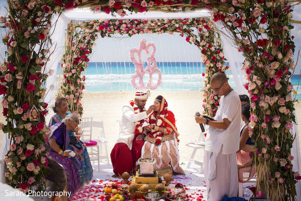 flower mandap,indian bride and groom,outdoor photography