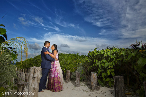 indian bride and groom,outdoor photography,pre-wedding reception photography