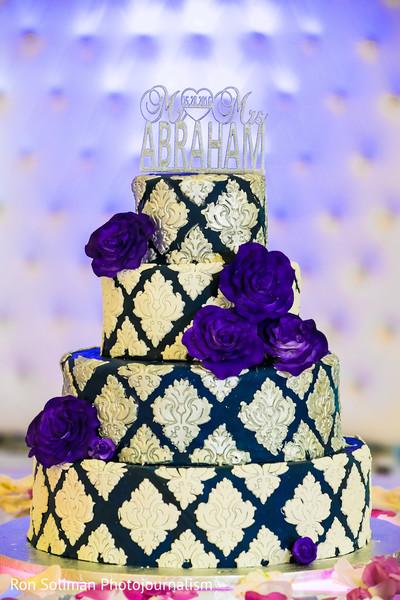 Gorgeous white and blue wedding cake