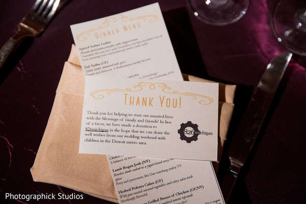 Wedding dinner menu and stationary. in Virginia Fusion Wedding by Photographick Studios