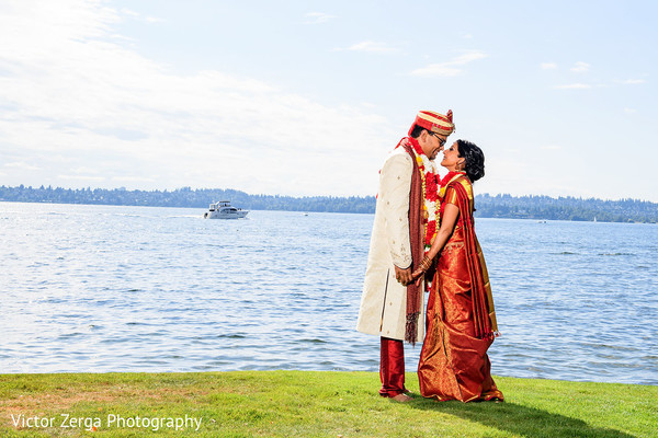 Lake shore portrait. in Kirkland, WA Indian Wedding by Victor Zerga Photography