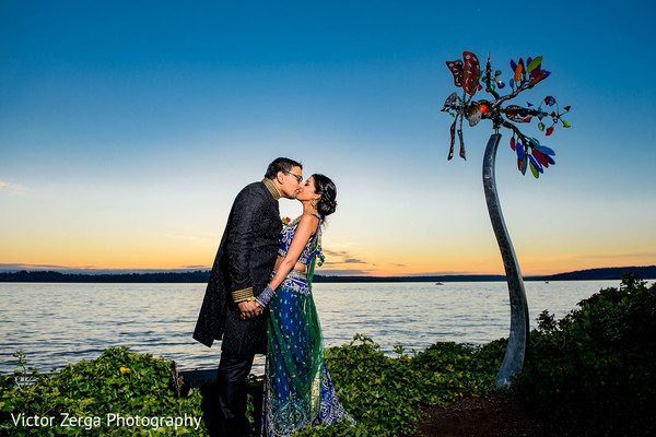 Sunset wedding portrait. in Kirkland, WA Indian Wedding by Victor Zerga Photography