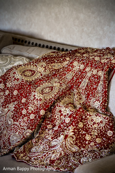 Amazing red and gold lengha
