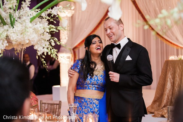 Lovely indian bride and groom speech. in Columbus, Ohio Fusion Wedding by Christa Kimble Fine Art Photography