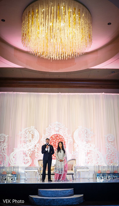 Indian groom speaking at wedding reception in Dallas, TX Pakistani Wedding by VEK Photography