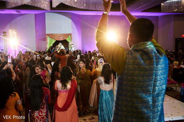 Indian groom waiting for the bride at mehndi party