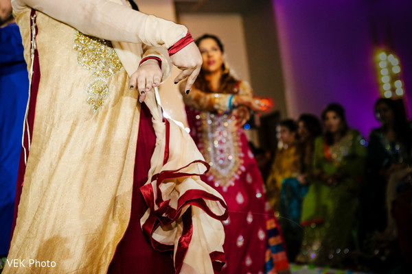 Lovely indian ladies dancing at mehndi party