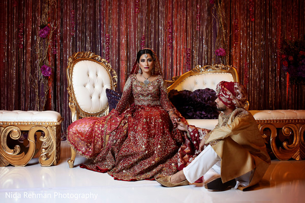 Pakistani bride and groom portrait. in Dallas, TX Pakistani Wedding by Nida Rehman Photography