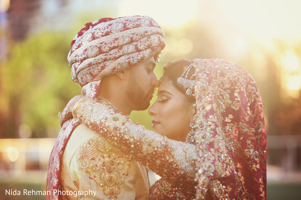 Sweet shot of pakistani bride and groom. in Dallas, TX Pakistani Wedding by Nida Rehman Photography