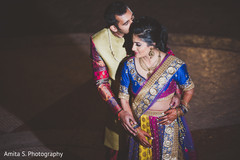 Indian bride and groom portrait for sangeet.