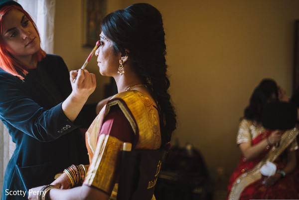 indian bride getting ready,indian bride makeup