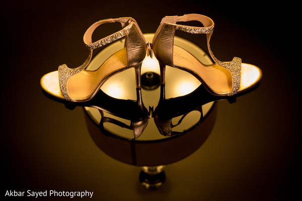 Beautiful golden heels in Falls Church, VA Indian Wedding by Akbar Sayed Photography