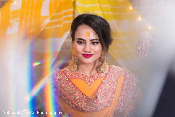 Beautiful bride at her mehndi party.