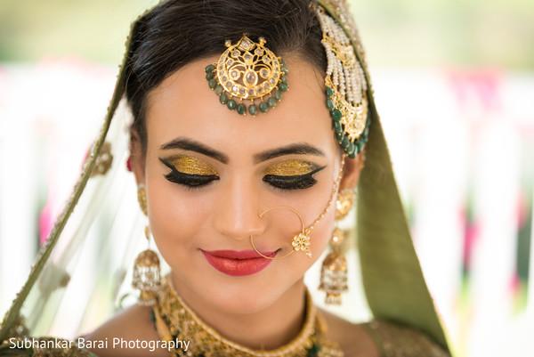 indian bride,indian bride hair and makeup,indian bridal lengha