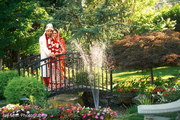 Beautiful garden themed wedding portrait. in Westchester, New York Fusion Indian Wedding by Jay Seth Photography
