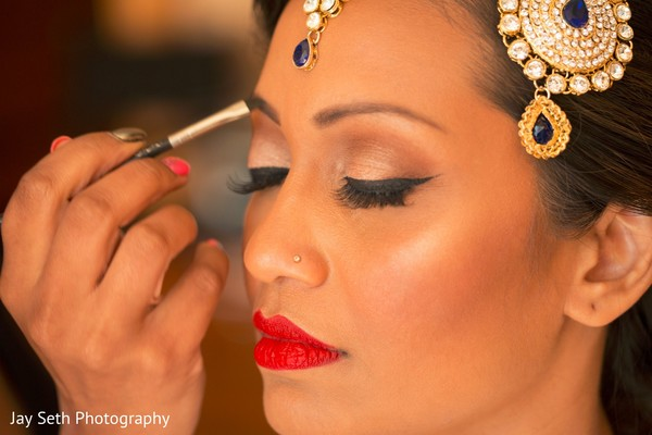 Bridal reception makeup look. in Westchester, New York Fusion Indian Wedding by Jay Seth Photography