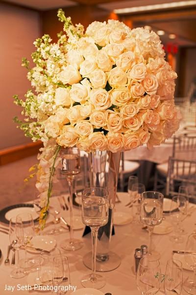 Gorgeous tall white floral centerpiece.