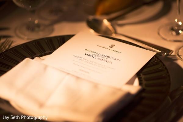 Elegant wedding dinner menu. in Westchester, New York Fusion Indian Wedding by Jay Seth Photography