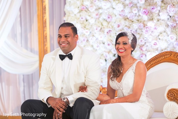 Maharani and Raja at their wedding reception. in Westchester, New York Fusion Indian Wedding by Jay Seth Photography