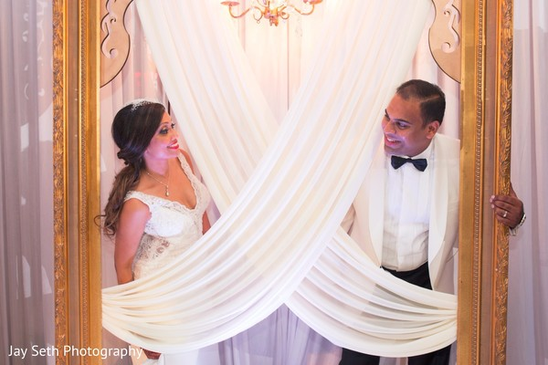Graceful reception portrait. in Westchester, New York Fusion Indian Wedding by Jay Seth Photography