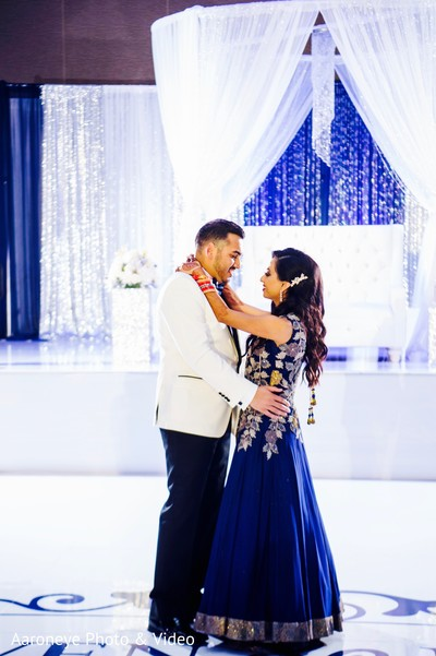Indian couple first dance at wedding reception in San Diego, CA Indian Wedding by Aaroneye Photography