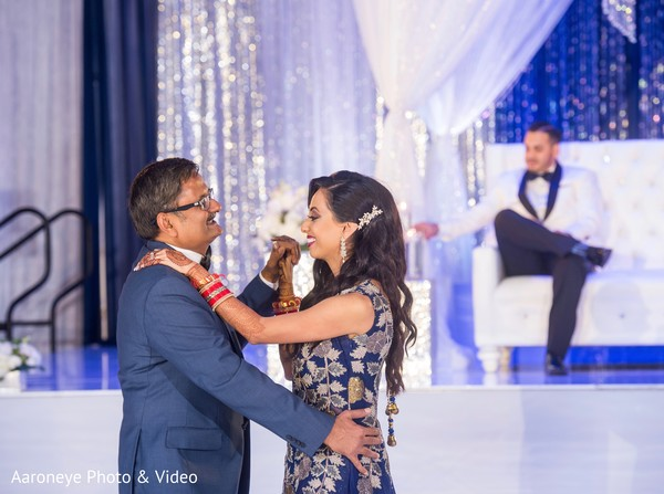 Indian bride dancing with her father at wedding reception in San Diego, CA Indian Wedding by Aaroneye Photography