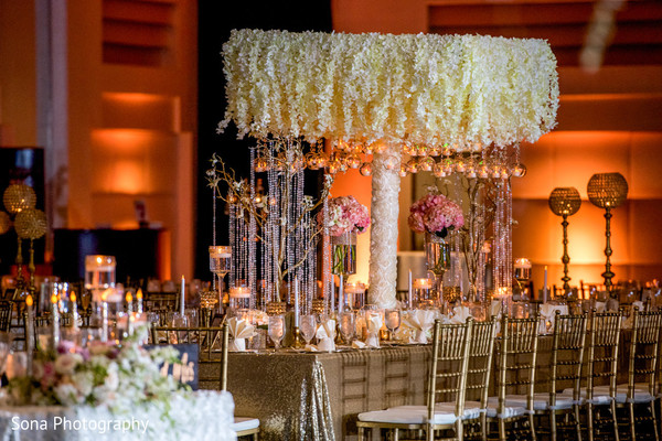 indian wedding floral and decor,indian wedding reception,indian wedding planning and design,table centerpieces