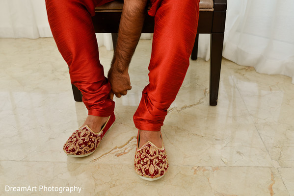 Indian groom getting ready for wedding ceremony
