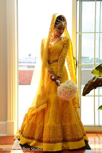 yellow wedding lengha,indian bride,indian bridal hair and makeup