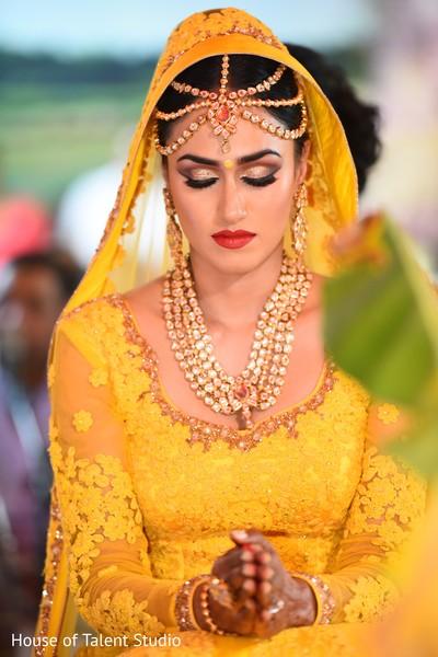 Fairytale indian bride praying.