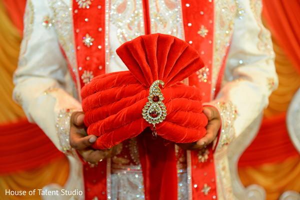 Beautiful red groom turban.