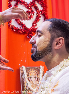 Indian groom during his haldi celebration.