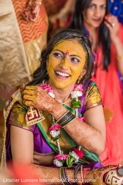 Indian bride pre-wedding celebration.