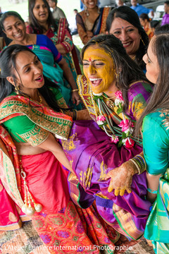 Colorful indian pre-wedding ritual.