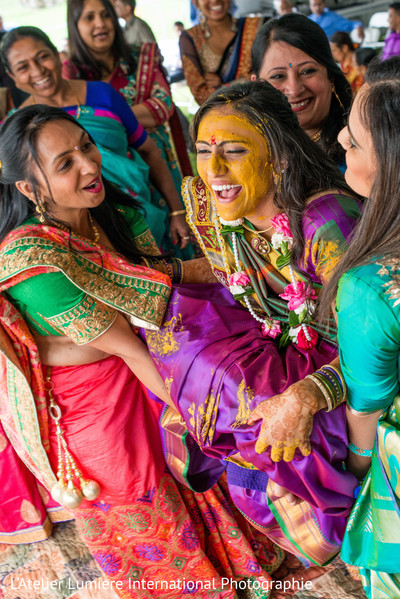 Colorful indian pre-wedding ritual.